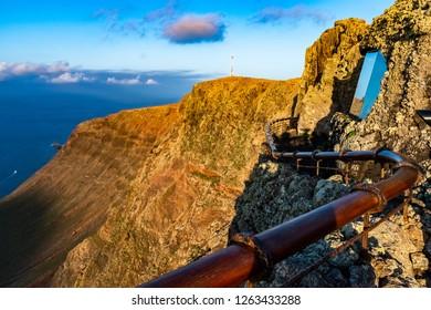 View at Atlantic ocean and La Graciosa island at sunset from El Mirador del Rio in Lanzarote, Canary Islands, Spain.