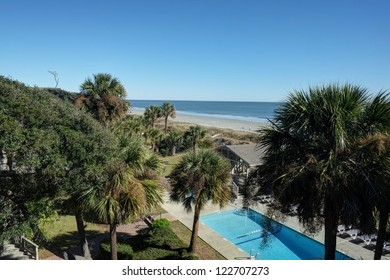 A view of the Atlantic Ocean and a private pool from the crow's nest of a beachfront home on the Atlantic Ocean at Hilton Head, SC.