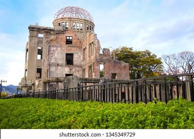 View of The Atomic Bomb Dome in Autumn season, Part of the Hiroshima Peace Memorial in Hiroshima, Japan.