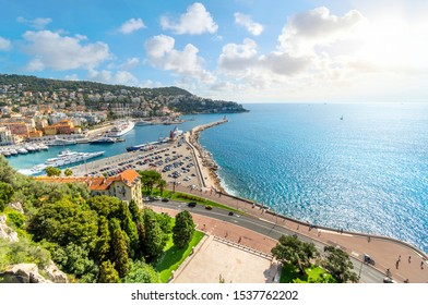 View from atop Castle Hill overlooking The Mediterranean Sea, promenade and the old harbor and port on the French Riviera, in Nice France.