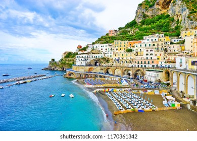 View of Atrani village along Amalfi Coast in Italy on a cloudy day in summer.