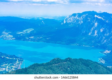 View of Attersee lake from Schafberg mountain, Austria