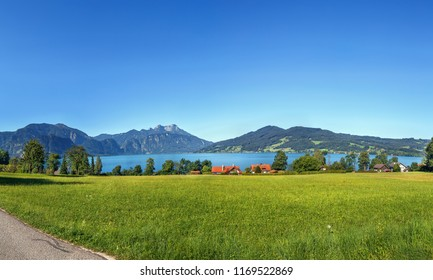 View of Attersee is the largest lake of the Salzkammergut region in the Austrian state of Upper Austria
