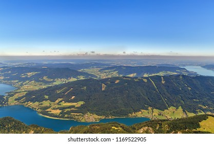 View of Attersee and Mondsee lakes from Schafberg mountain, Austria