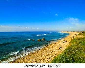View atthe beach in Caesarea, Israel