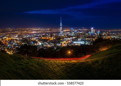 View of Auckland City Skyline at Night from Mt Eden Summit | Auckland, NEW ZEALAND