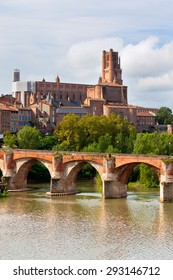 View of the August bridge and The Saint Cecile church in Albi, France. Vertical shot