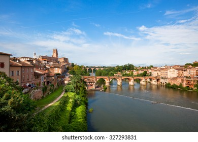 View of the August bridge and Saint Cecile church in Albi, France. Horizontal shot
