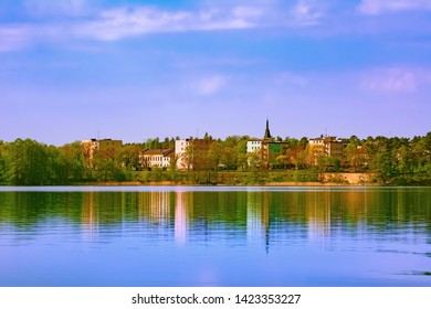 View of Augustow city (Poland) from the lake