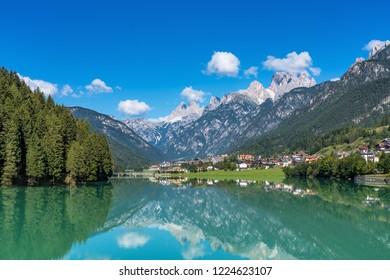 View of Auronzo di Cadore Belluno Italy the Lake Santa Caterina and Tre Cime peaks