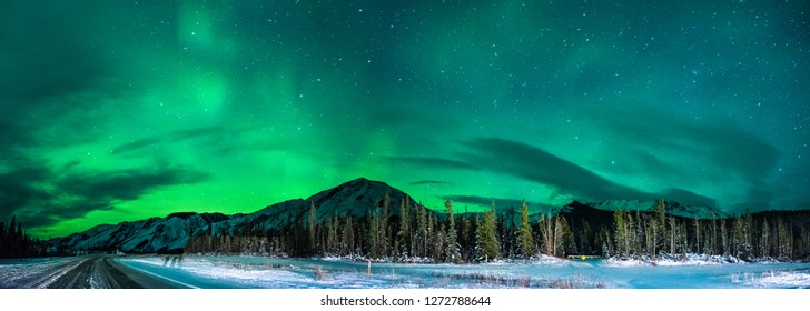 View of an aurora borealis from the Alaska highway to the northern rockies park in British Columbia Canada.