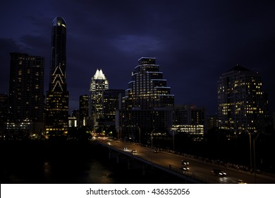 A view of the Austin, Texas skyline at night