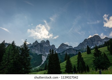 A view in the Austrian Alps on a mountain called the Bischofsmütze