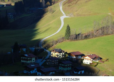 View to the austrian mountain village in the alpine valley