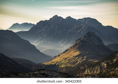 View of the Austrian mountains 'Loferer Steinberge' in the warm evening light