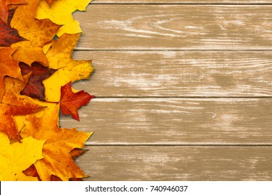 View of autumn leaves on the left side of the wooden brown background