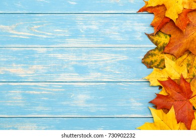 View of autumn leaves on the right side of the wooden blue background