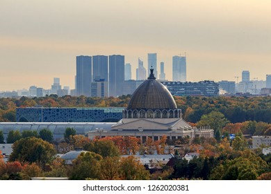 View of Autumn Moscow above. Ostankinsky District is administrative raion of North-Eastern Administrative Okrug of Moscow, Russia. VDNH exhibition center and Ostankino Tower. Botanical Garden VVC