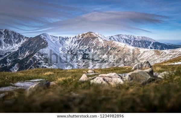 View of the Autumn Ridge Mountain Low Tatras, Slovak Republic. First snow in the Low Tatras, Slovak Republic.
