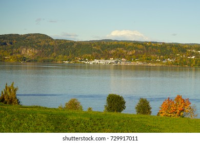 View of autumn sunset at fjord, Drammen, Buskerud, Norway.