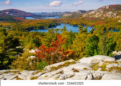 "View of Autumn from ""the Crack"" in beautiful Killarney Provincial Park, Ontario"