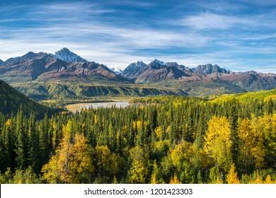 View of autumn Wrangell st. elias national park, Alaska, USA
