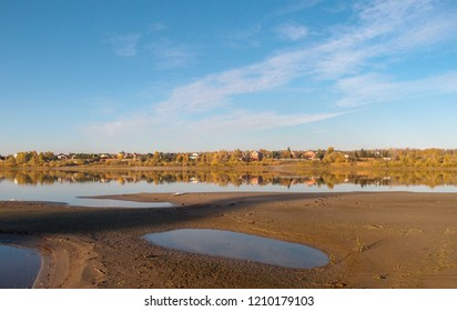 View of the autumnal bank of the Irtysh River in the Omsk Region.