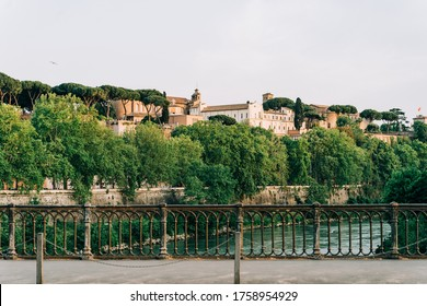 View of the Aventine Hill in Rome, Italy from Ponte Palatino