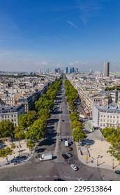 View of Avenue de la Grande Armee and la Defense district  as seen from triumphal arch in Paris