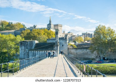 view from Avignon Bridge with Popes Palace, Pont Saint-Benezet, Provence, France