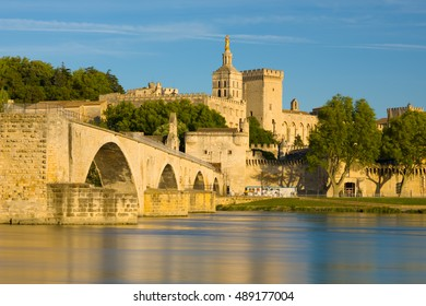 View of Avignon in a summer evening