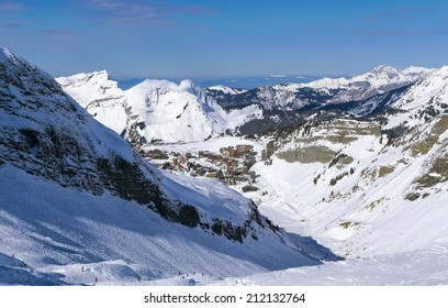 View of the Avoriaz and Lake Leman