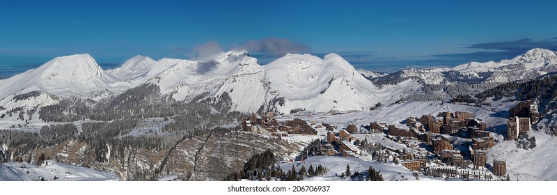 View of the Avoriaz and Morzine, Portes du Soleil