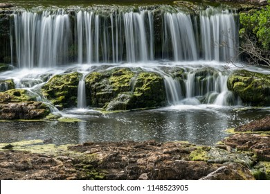 View of Aysgarth Falls at Aysgarth in The Yorkshire Dales National Park