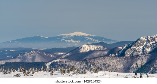 view to Babia hora hill from Martinske hole in Mala Fatra mountains in Slovakia during beautiful winter day with clear sky
