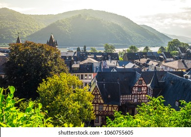 View of Bacharach in the Rhine river Germany Europe