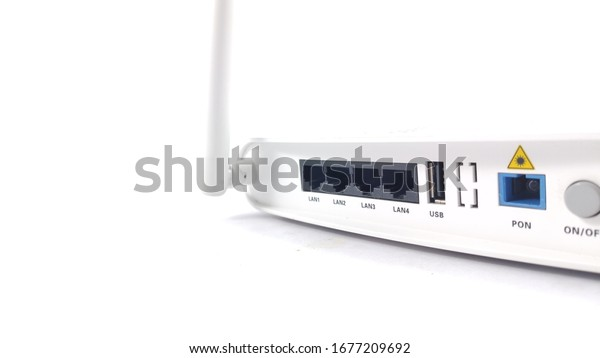 view back of a technology wireless router 4g and 5g on white background, Selective focus