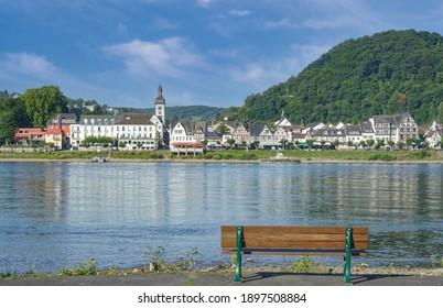 Aussicht von Bad Hönningen nach Bad Breisig, Rhein River, Deutschland