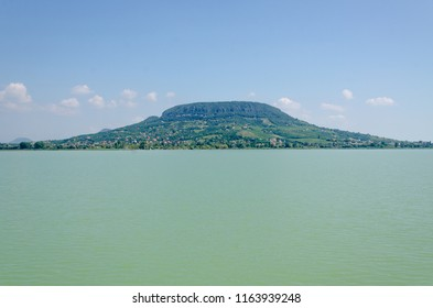 A view at Badacsony from Balaton lake in Hungary on a summer day