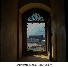 View to Baghdad and Tigris river from the broken window of Al-Mustansiriya Madrasah, Iraq