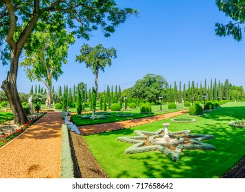 View of the Bahai gardens, in Acre (Akko), Israel