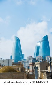 View of Baku with modern buildings and old city