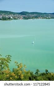 View of Balaton lake and Balatonf�¼red resort, Hungary