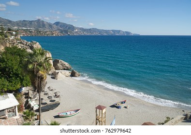 A view from Balcon de Europa (Balcony of Europe) in Nerja, Malaga province, Andalusia, Spain.