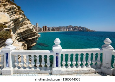 The view from the Balcon del Mediterraneo at Placa del Castell overlooking Levante Beach in Benidorm, Spain.