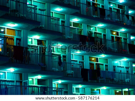 View Balconies Apartment Building Night Stock Photo Edit Now