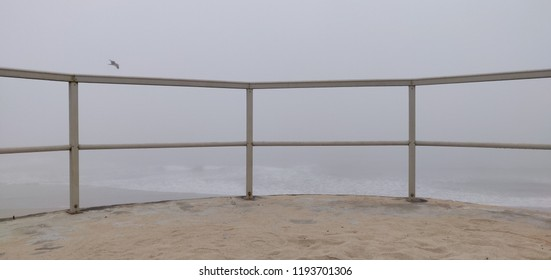 View from balcony of Agucadora beach on a foggy morning.