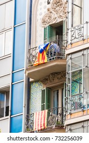 View of the balcony with the flag. The referendum on independence, Barcelona, Catalonia, Spain. Close-up