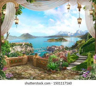 View from the balcony on the coast of Italy with white curtains, lanterns and a beautiful garden. Digital fresco. Wallpaper.