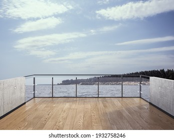 View from the balcony to the sea.Landscape. Sunny Day. Terrace with a beautiful view. Background with beautiful landscape.